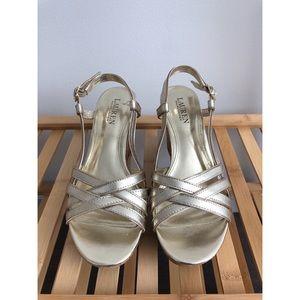 RALPH LAUREN Women's Gold Quaylin Wedge Sandal
